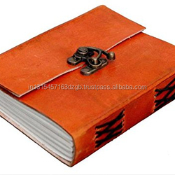 Prastara Handmade Leather Diary Leather Journal Notebook For Office/Home/Craft/Art Use With Lock (Orange)(4X6 Inches)