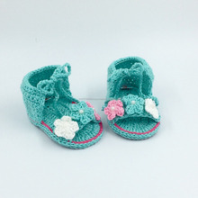 New Design Knitted Soft Sole Green Baby Flowers Sandal