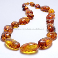 Natural Polished Beeswax Amber Beads