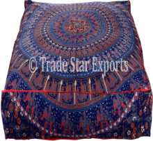 Decorative Dog Bed Large Cushion Cover Ethnic Mandala Pet Bed Pillow Indian Cotton Square Pillow Sham