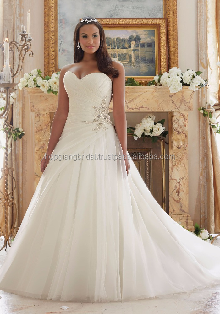 Latest Bridal Wedding Dress Designs A Line Gown Plus Size Organza And Tulle Fabric High Quality