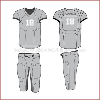 Gray American Football Uniform with Capless Sleeves and Sublimated player name labeling
