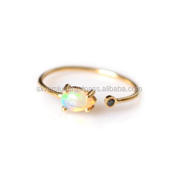 14K Yellow Gold Opal Gemstone Engagement Black Diamond Ring Manufacturer Wholesale Supplier