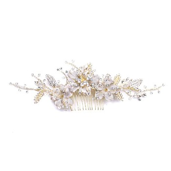 AP40029 Vintage Silver Flower Crystal Beads Side Combs Bridal Headpiece Wedding Hair Comb Accessories