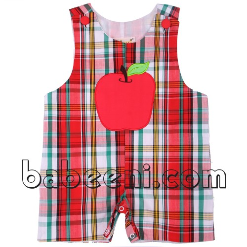 Nice back to school applique jon jons kid clothes with apple pattern