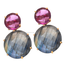 Labradorite And Pink Tourmaline Gemstone Earrings Light weight Simple Earrings Stone Dangle Earring