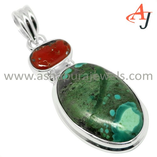 Stunning Fashion Gemstone Coral_Turquoise 925 Sterling Silver Pendant, Free Shipping Silver Jewelry,Gemstone Jewelry Manufacture
