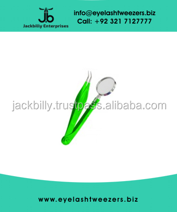 Eyelash Extension tweezers, Eyelash Tweezers with Magnifying Glass with Parrot Green Color