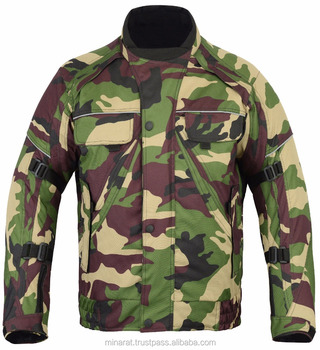 All Weather Green Camouflage CE Armoured Waterproof Motorcycle Motorbike Cordura Jacket
