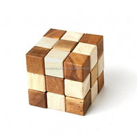 Wooden Snake Cube 3D Puzzle Wooden Games Twisted games