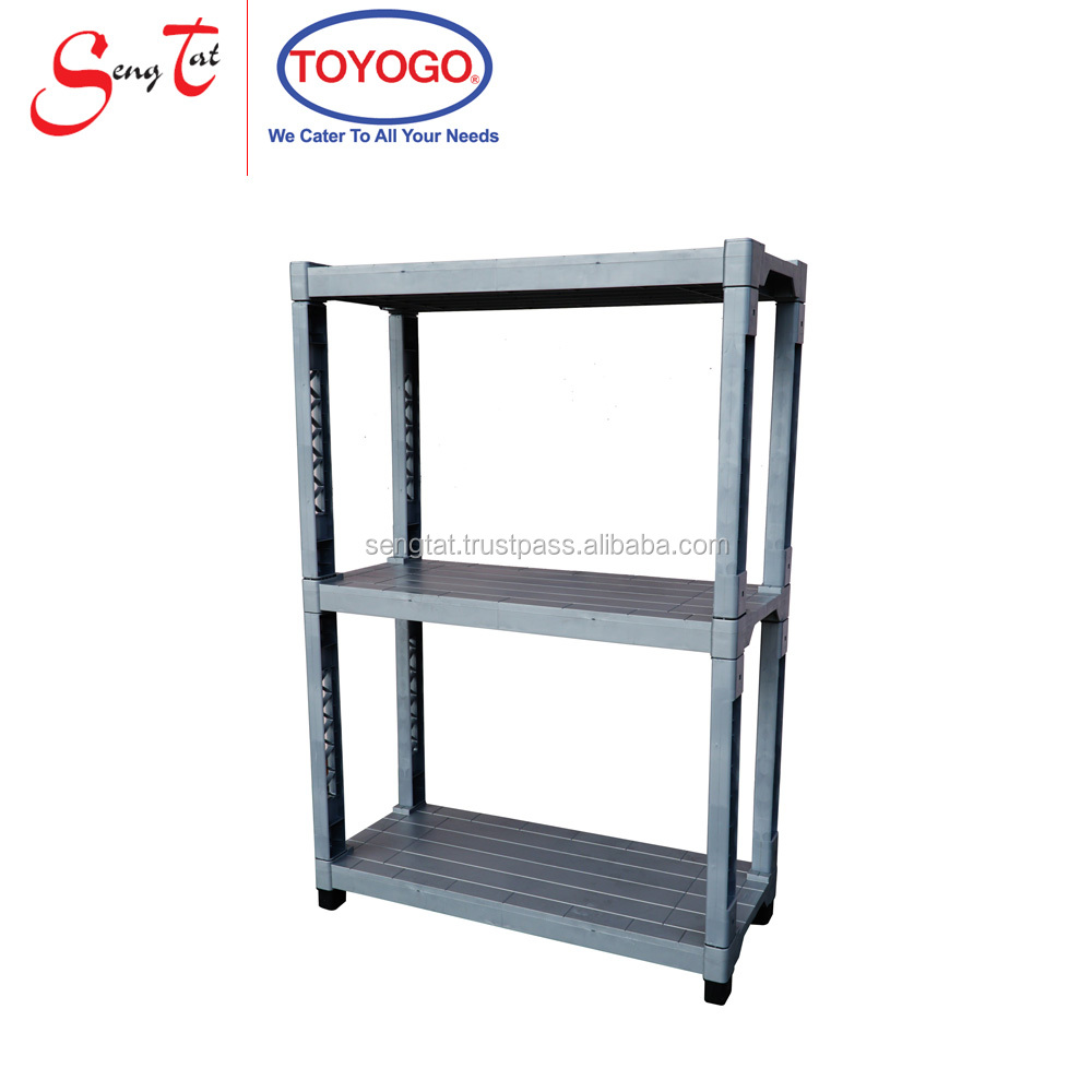 Strong and Durable DIY 3-tier Plastic Storage Rack (893-3H)