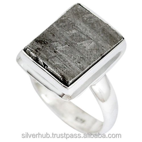 Latest 925 Sterling Silver Grey Meteorite Handmade Designer Customizable Ring Jewelry