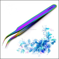 Steel Curved Tweezers, Eyelash Tweezers in titanium color factory & manufacturer & supplier by 3E Rubbies