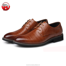 2017 brown genuine leather upper oxford style shoe rubber sole shoes men