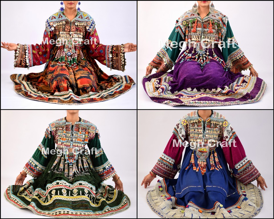 Cotton/Silk Balochi Embroidery Dress - Balochi Tradition Vintage Kuchi Dress - Long Balochi Jackets - STOCKLOT
