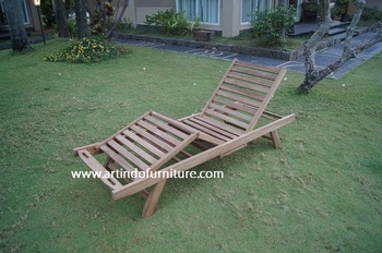 Teak Sun Lounger without Arm - 4 folding positions - Knocked Down - High Class Quality