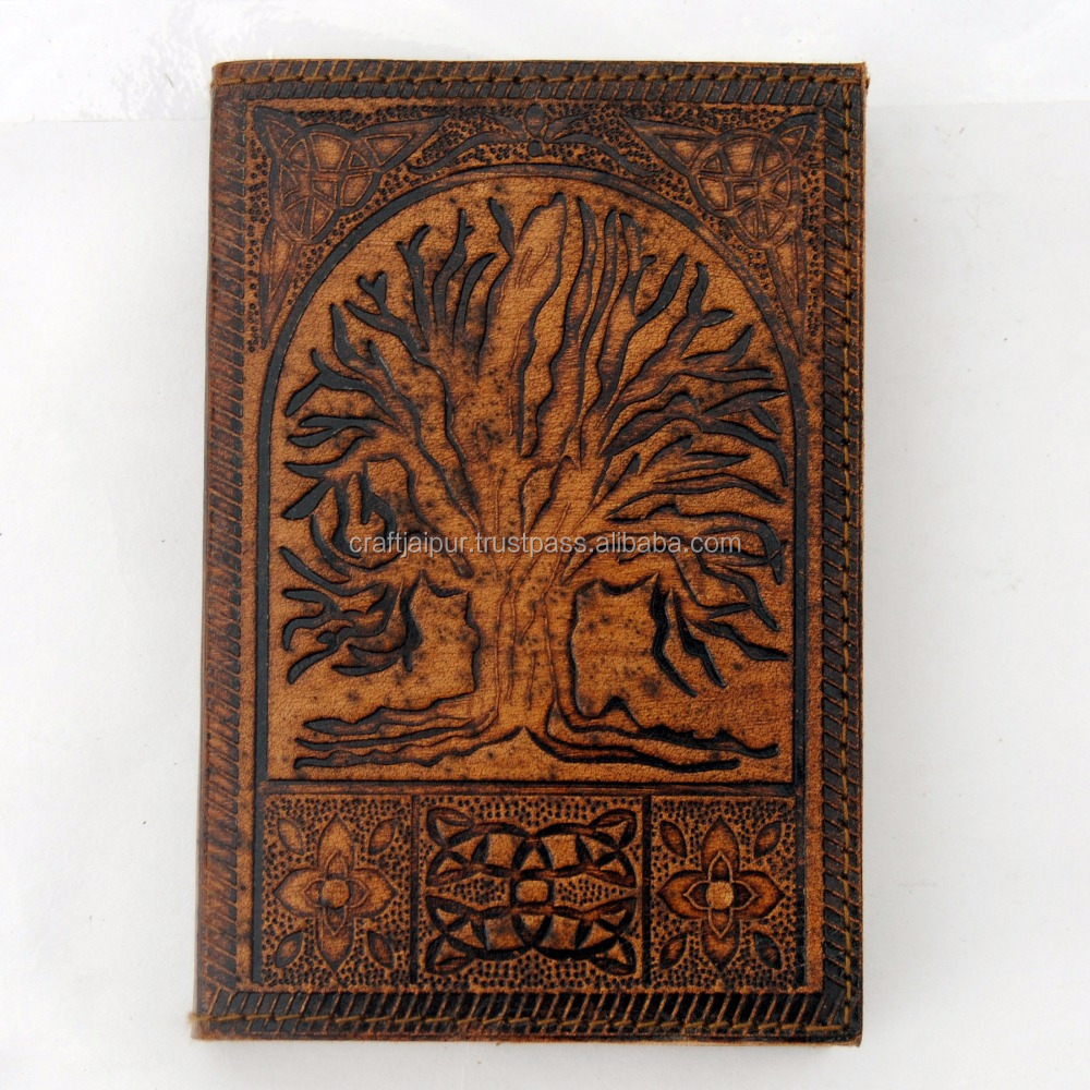 Leather journal tree of life embossed handmade notebook organizer planner diary
