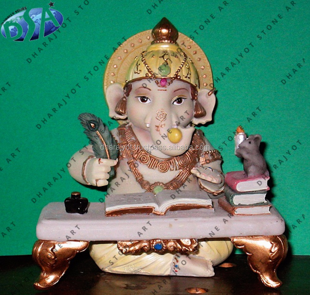 white marble small ganesha statue with book sculpture