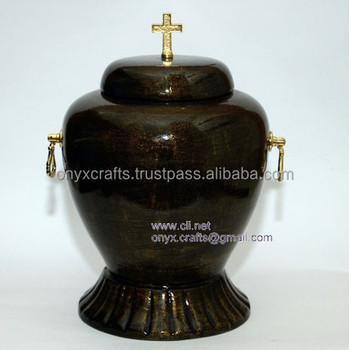 Jet Black Marble Funeral Urns, Urny,Urnas with Cross and Handle