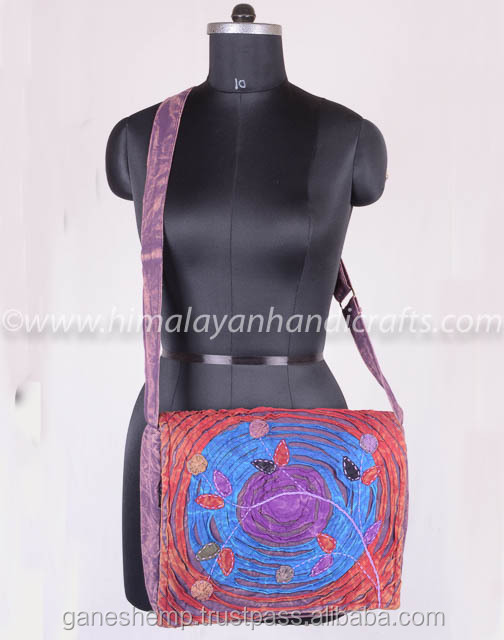 Multi color Round Razor cut with Flower Patch work Crossbody Flap over Purse with Adjustable Shoulder Strap RSMB-0505-D