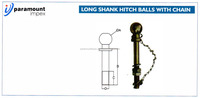 LONG SHANK HITCH BALL WITH CHAIN