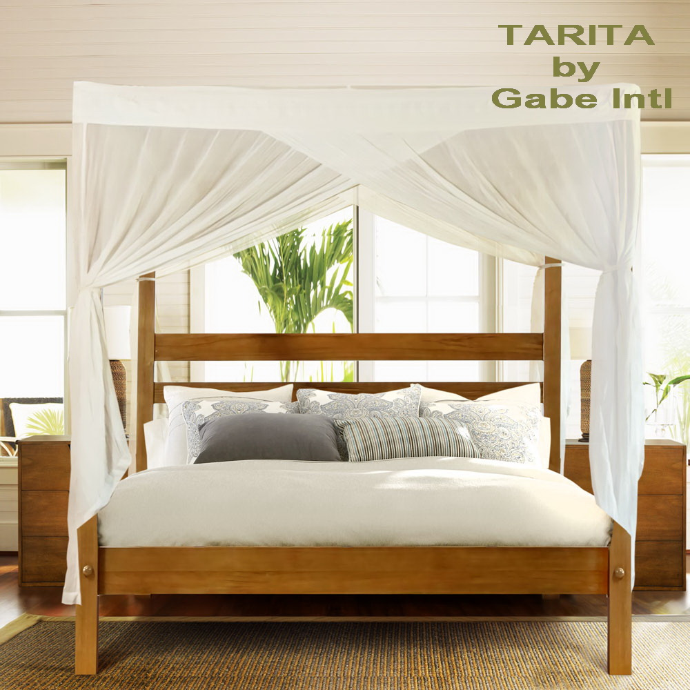 Four poster bed with canopy solid teak wood contemporary style