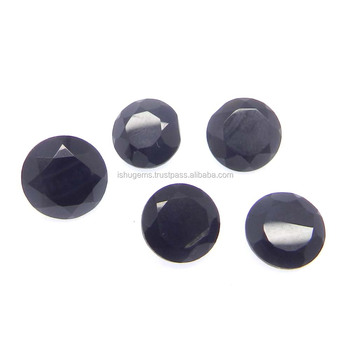 Black onyx semi precious 9mm round cut 2.16 cts loose gemstone for jewelry