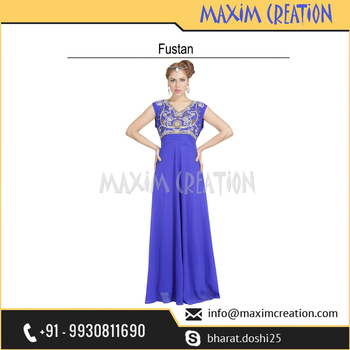 Dubai Fancy Fustan Dress With Beautiful Embroidery Design By Maxim Creation