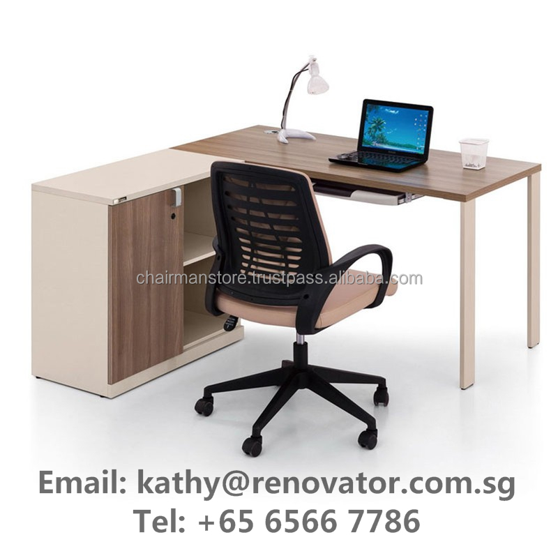 Custom made knock-down flat back office,school,bookstore wood panel table, chairs, cabinet, shelves