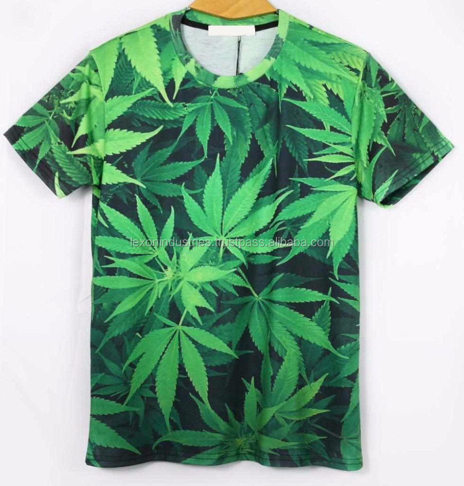 Weed T-shirt 3D Print Green Leaves-Unisex