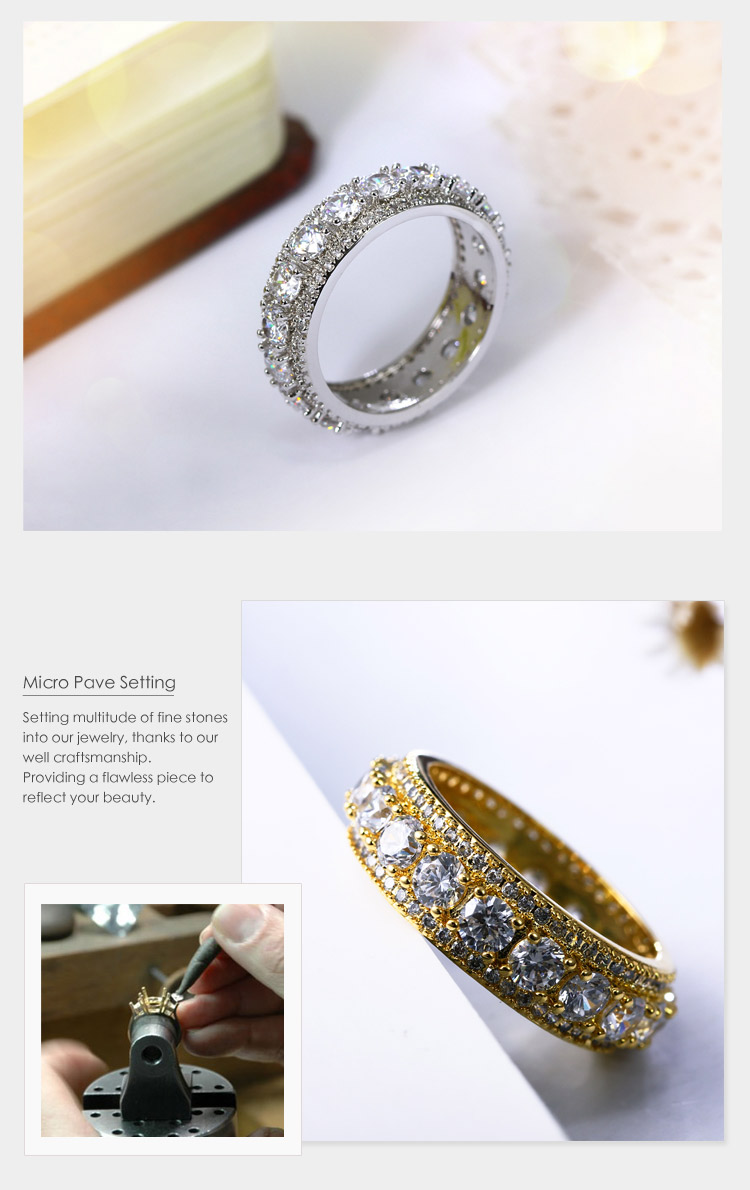 New Design Luxury AAA Cubic Zirconia Stones White Gold Jewellery Engagement Wedding Band Ring