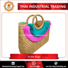 Natural Straw Summer Beach Tote Bag for Fashion Lady Original Handmade Product from Thailand