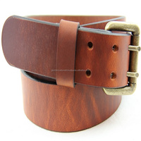 Casual leather belt double pin roller buckle