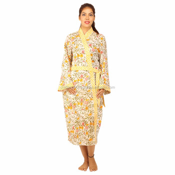 Cotton hand block printed kimono hotel,home,sleepwear bathrobe indian