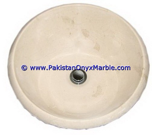 Outdoor high quality marble sinks basins handcarved bathroom vessels sinks Round Bowl Verona Beige marble