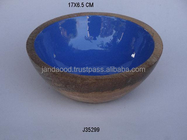 Mango wood deep bowl with food safe enamel other sizes and shapes available