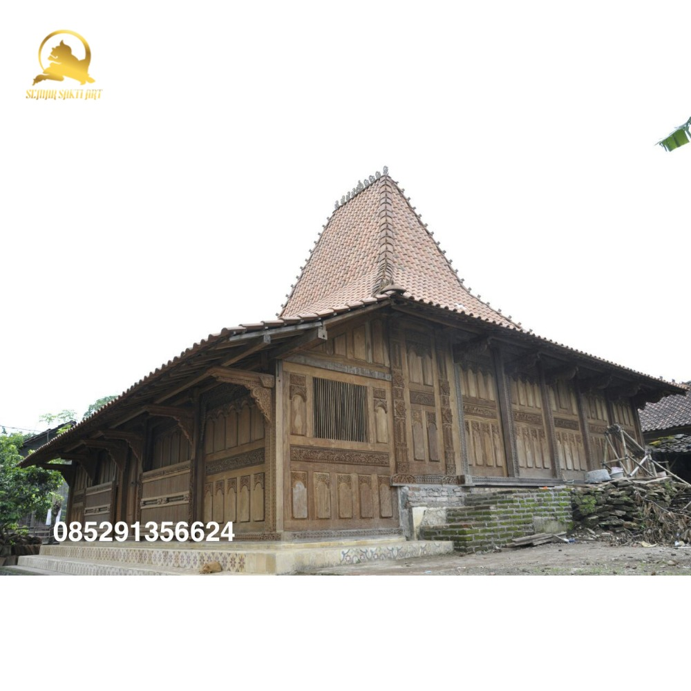 Classic Traditional Indonesian Joglo Prefab Wooden Villa house with Teak Carved Decoration