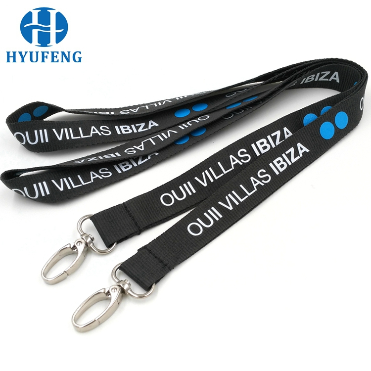 Black Custom Imprinted Flat Polyester Lanyard With Silk Screen Logo