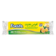 Foxlife Drawstring Garbage Bag LDPE yellow and lemon scented 40 lt large size recyclable trash bag for household and cleaning