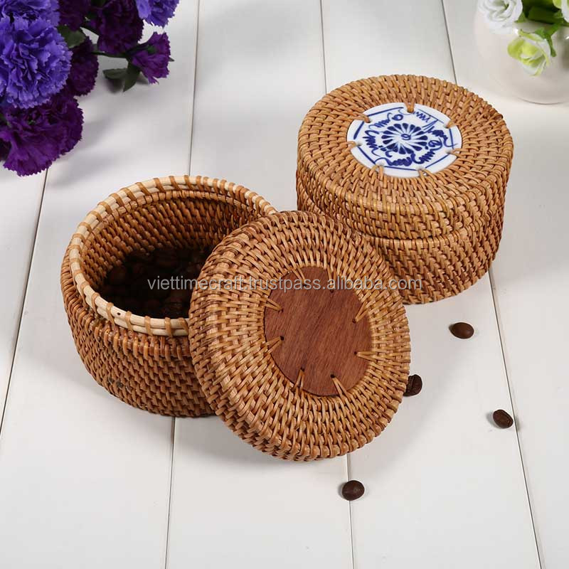 Durbale Vintage Round Rattan Storage Box With Lid / Sundries Puerh Tea Vintage Gift hot