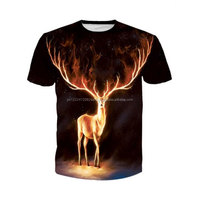 Black Round Neck 3D Flame Print T Shirt