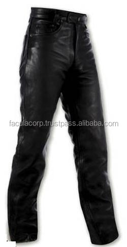 Motorcycle Quality Leather Trousers Biker Jeans Pants Motorbike Black FC-17330