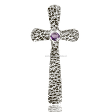 Newest Style Amethyst Gemstone 925 Silver Hammered Cross Pendant