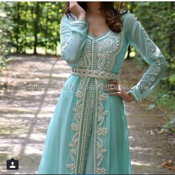 Moroccan kaftan Abaya Dubai Style Fashion Islamic Muslim Dress Maxi Gown Farsha Caftan Wedding Dress