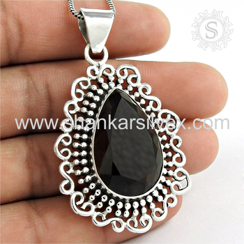 Vintage style smoky quartz gemstone pendant 925 sterling silver jewelry pendants wholesalers