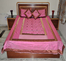 New Cotton Bed Sheet Cover let Pink Bedding Decor Bedroom Supplier Indian brocade silk bedspreads