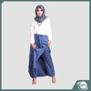 Rocella Rania Long Skirt Pants For Muslim Women Cotton Stretch Navy Blue Color Offer Pockets With Waist Belt Long