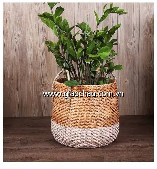 Vietnam Natural rattan storage basket with handles/ rattan basket