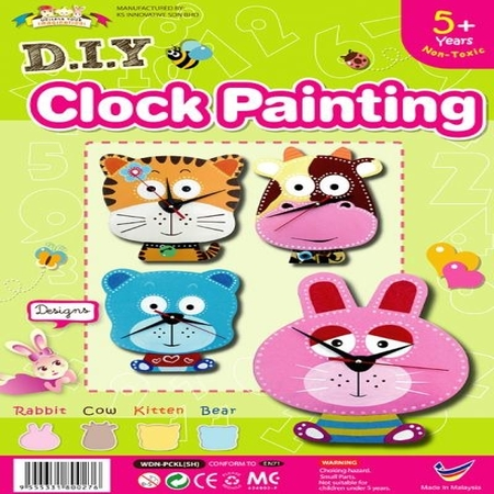 DIY Animal Clock Painting Kit - Kids Craft Educational Toys - Wooden MDF Painting Set