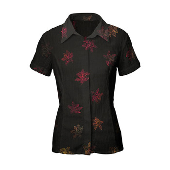 Latest Design Stamped Batik Shirts Indonesia Black Orchid Pattern